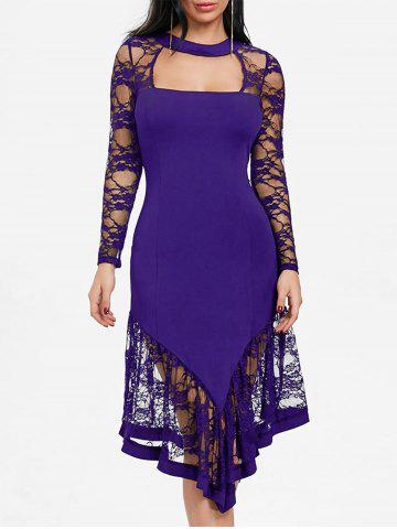 Cheap Cut Out Lace Panel Asymmetrical Club Dress