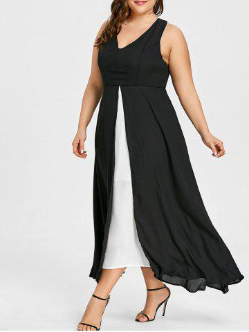 Unique Plus Size Slit Two Tone Dress