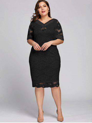 35e22dafed2 Plus Size V Neck Midi Lace Dress