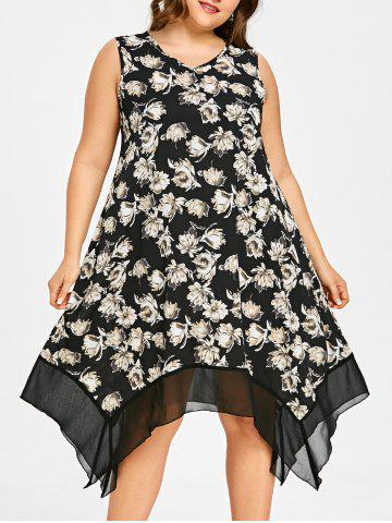 Outfits Floral Plus Size Asymmetric Swing Dress