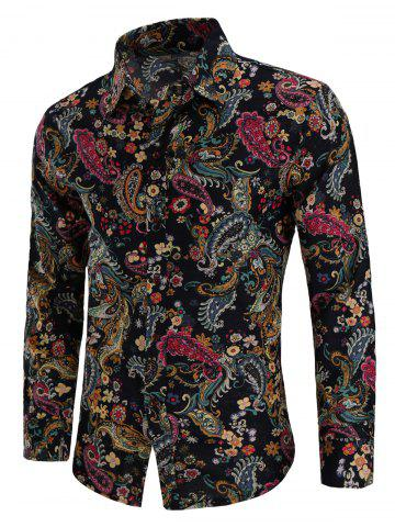 Paisley Print Linen Long Sleeve Shirt - MULTI - XS