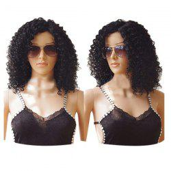 Medium Side Bang Fluffy Kinky Curly Lace Front Synthetic Wig -