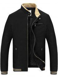 Chest Zipper Stripe Hem Veste décontractée -