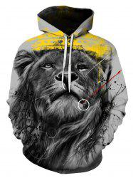 Digital Splatter Paint Lion Pullover Hoodie -