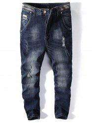 Number Applique Ripped Jogger Jeans -