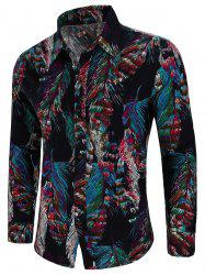 Feather Tribal Print Long Sleeve Shirt -