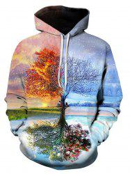 3D Digital Symmetrical Tree Print Pullover Hoodie -