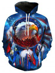 3D Digital Eagle Dreamcatcher Print Pullover Hoodie -