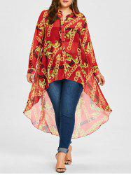 Chiffon Plus Size Long High Low Top -