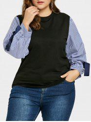 Plus Size Bowknot Embellished Striped Sleeve Top -