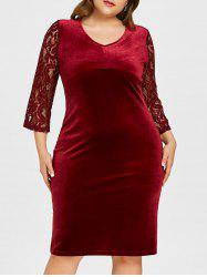 Plus Size Floral Lace Velvet Bodycon Dress -
