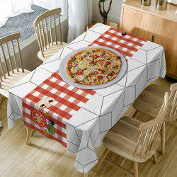 Pizza Plaid Print Waterproof Dining Table Cloth -