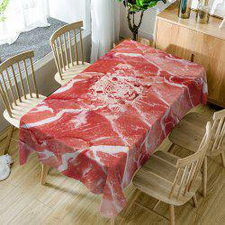 Raw Meat Print Waterproof Dining Table Cloth -