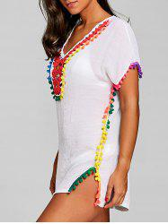 Rainbow Pom-pom Hem Cover Up Dress -