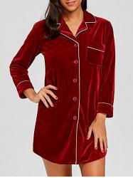 Velvet Long Sleeve Pajama Shirt -