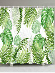 Tropical Leaves Print Waterproof Fabric Shower Curtain -