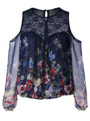Lace Panel Cold Shoulder Floral Blouse -