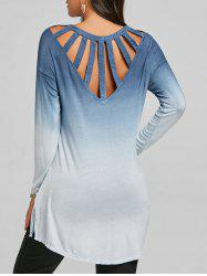 Back Cut Out Ombre Color High Low Top -