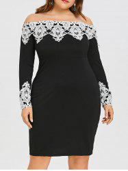 Plus Size Off The Shoulder Crochet Dress -