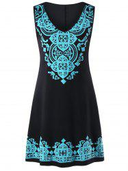 Sleeveless V Neck Tribal Print Dress -