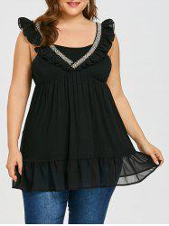 Rhinestone Ruffle Plus Size Sleeveless Blouse -