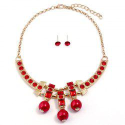 Statement Rhinestone Bead Necklace with Earrings -