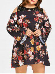 Plus Size Floral Open Shoulder Dress -