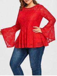 Translucent Plus Size Lace Peplum Blouse -