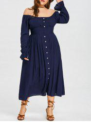 Plus Size Off The Shoulder Empire Waist Dress -