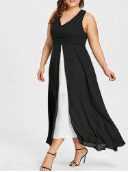 Plus Size Slit Two Tone Dress -