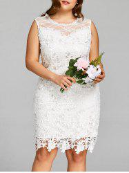 Plus Size Sleeveless Knee Length Lace Dress -