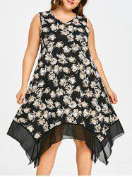 Floral Plus Size Asymmetric Swing Dress -