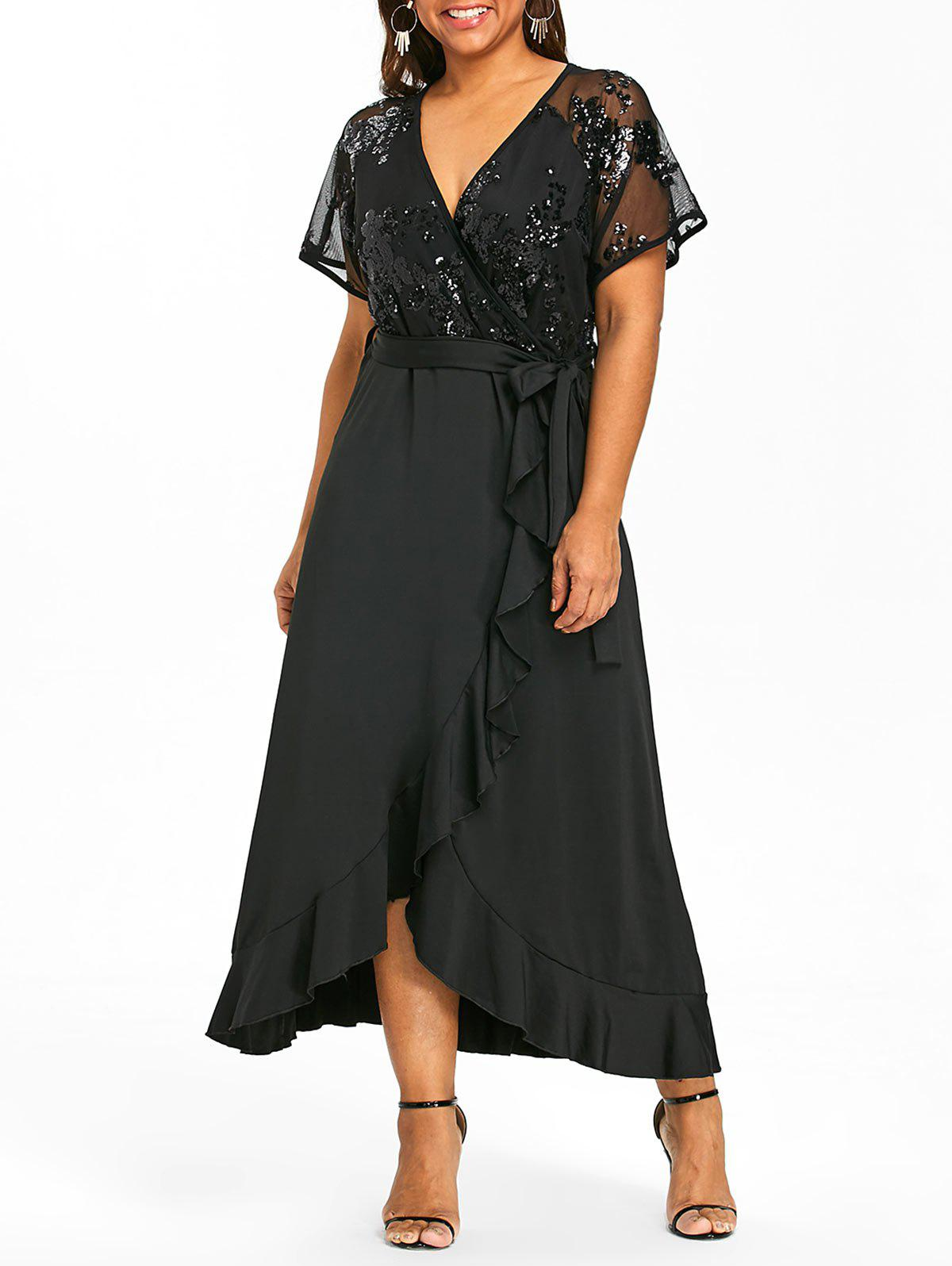 Chic Sequins Ruffles Trim Plus Size Maxi Dress