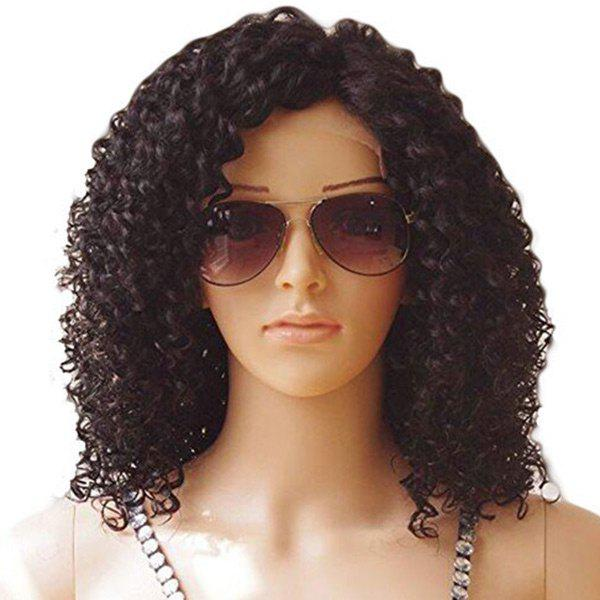 Latest Medium Side Bang Fluffy Kinky Curly Lace Front Synthetic Wig