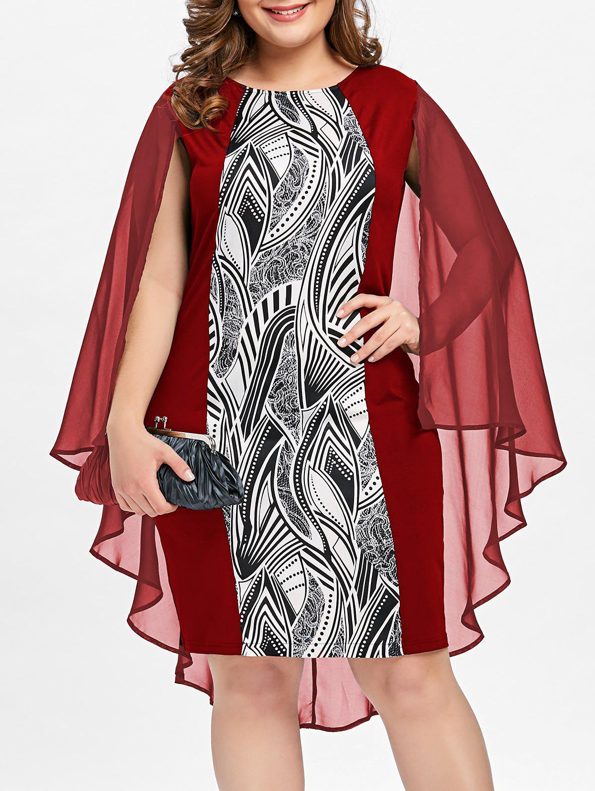 Unique Plus Size Print Sheath Cape Dress