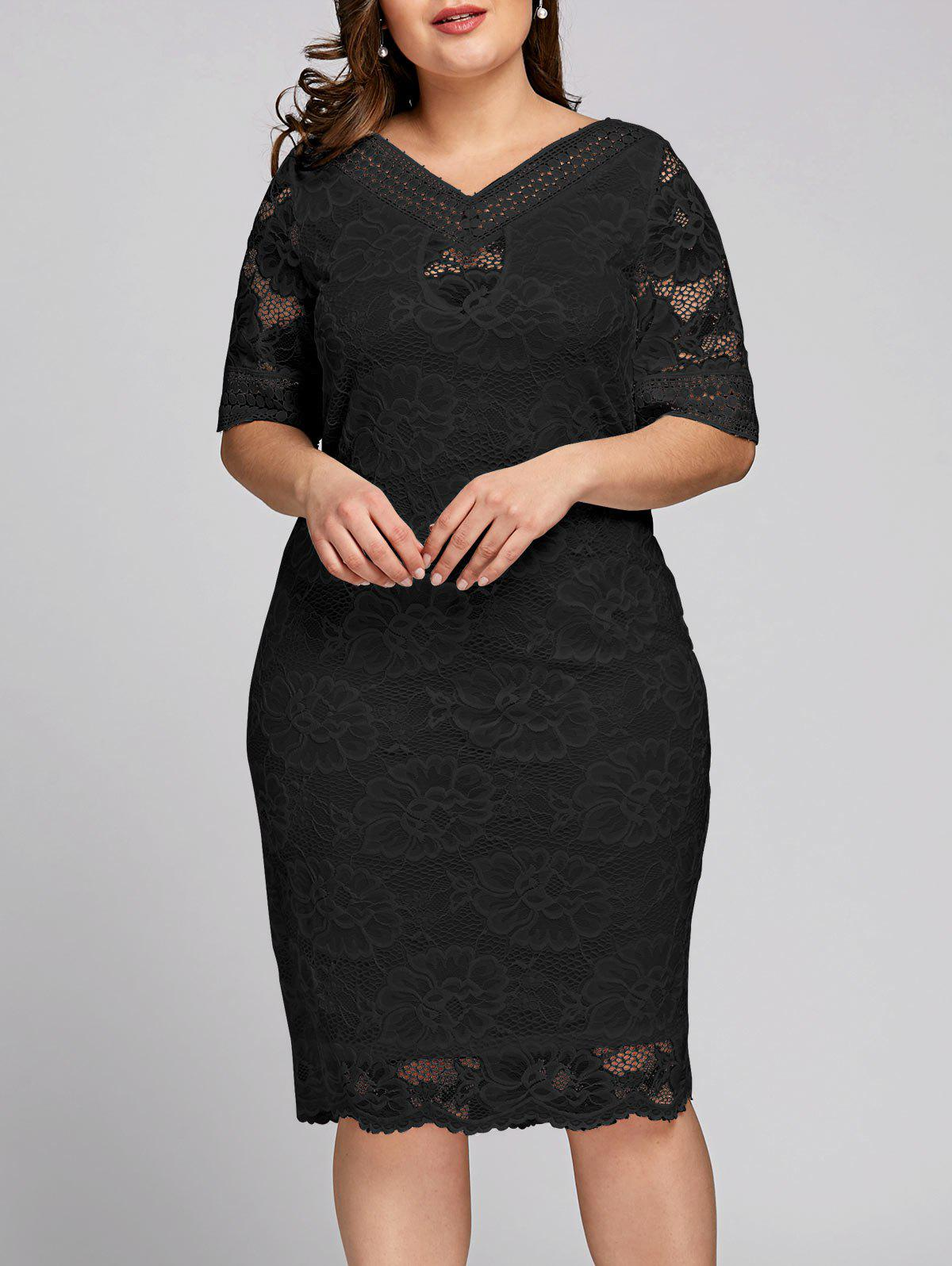 Fancy Plus Size V Neck Midi Lace Dress