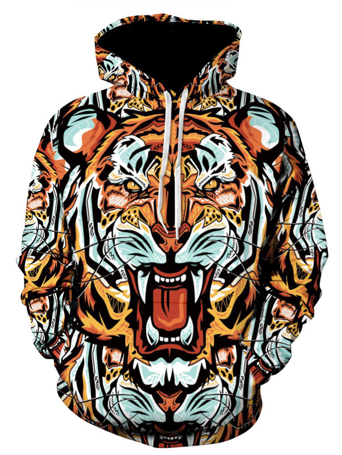 Cheap 3D Digital Tiger Print Hooded Pullover Hoodie