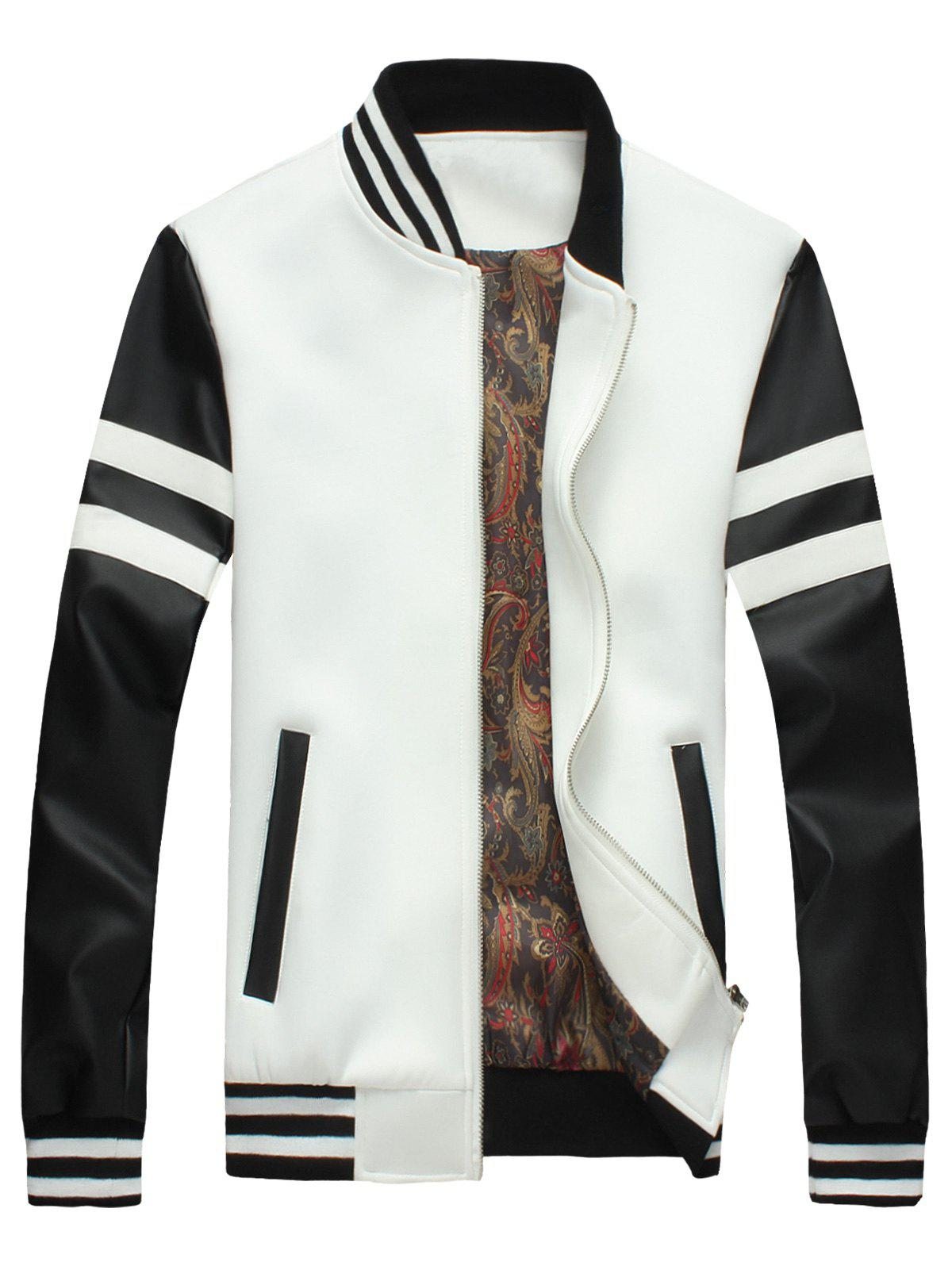 Outfit Faux Leather Panels Stripe Jacket