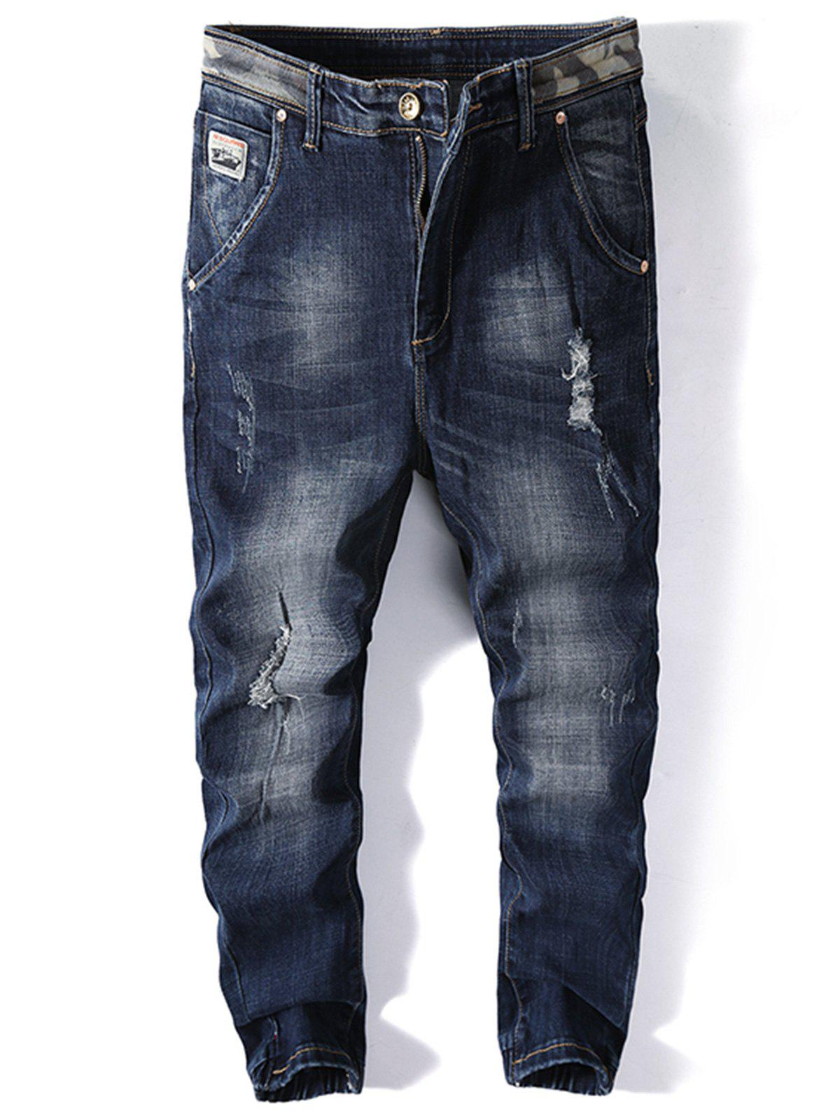 Trendy Number Applique Ripped Jogger Jeans