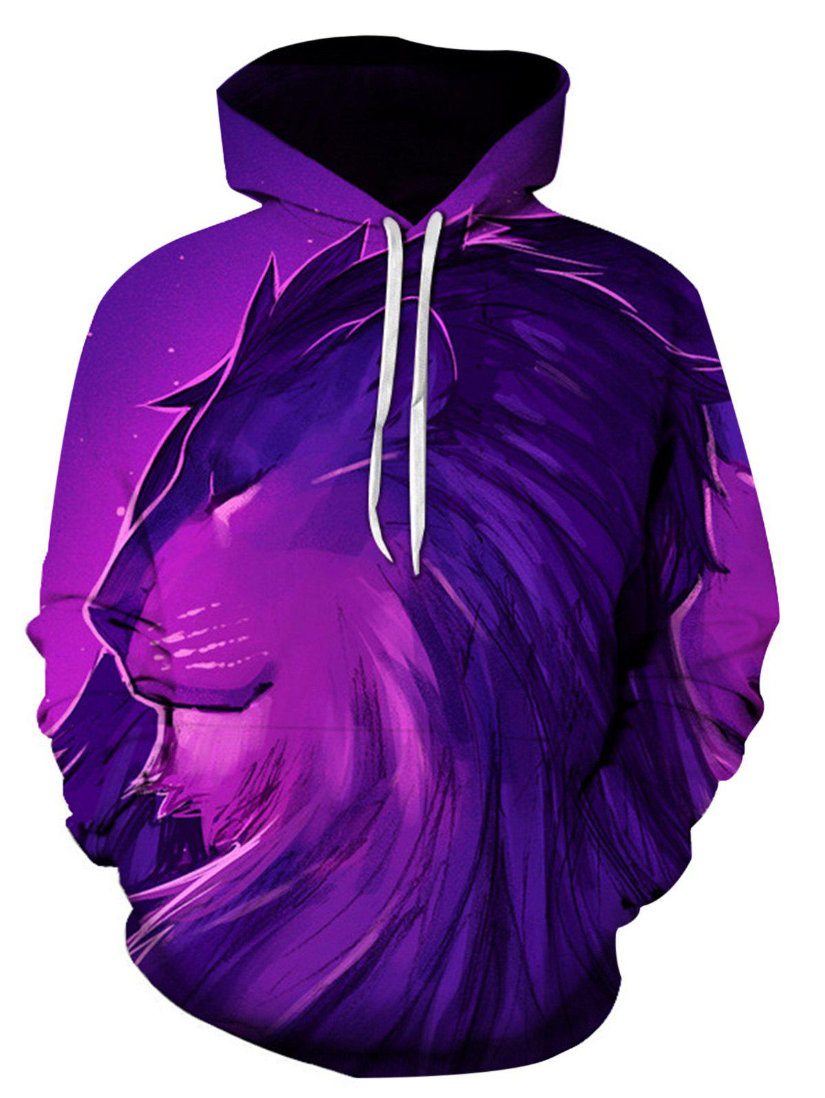 Sweat-shirt à capuche imprimé 3D 3D Lion