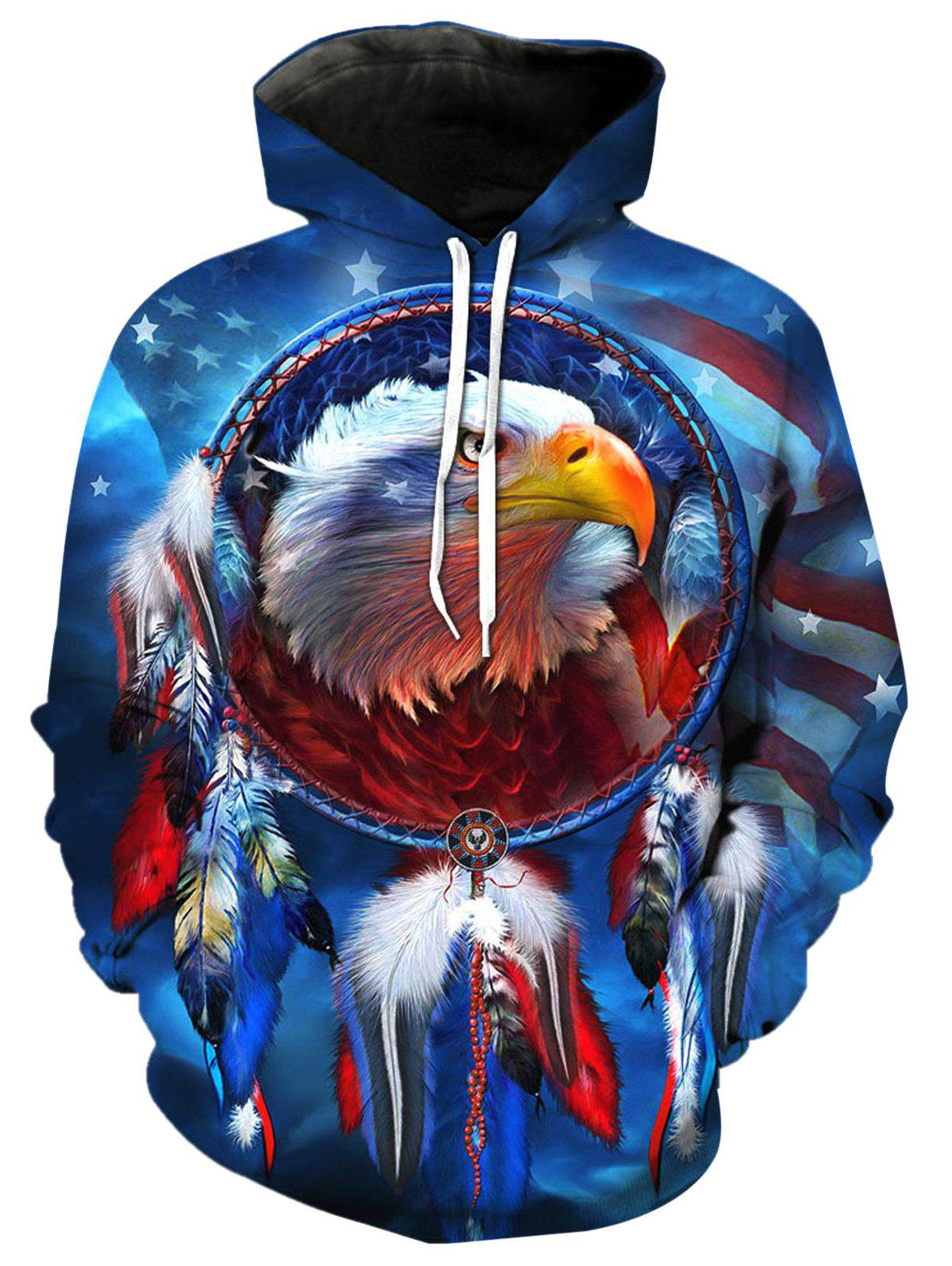 Fancy 3D Digital Eagle Dreamcatcher Print Pullover Hoodie