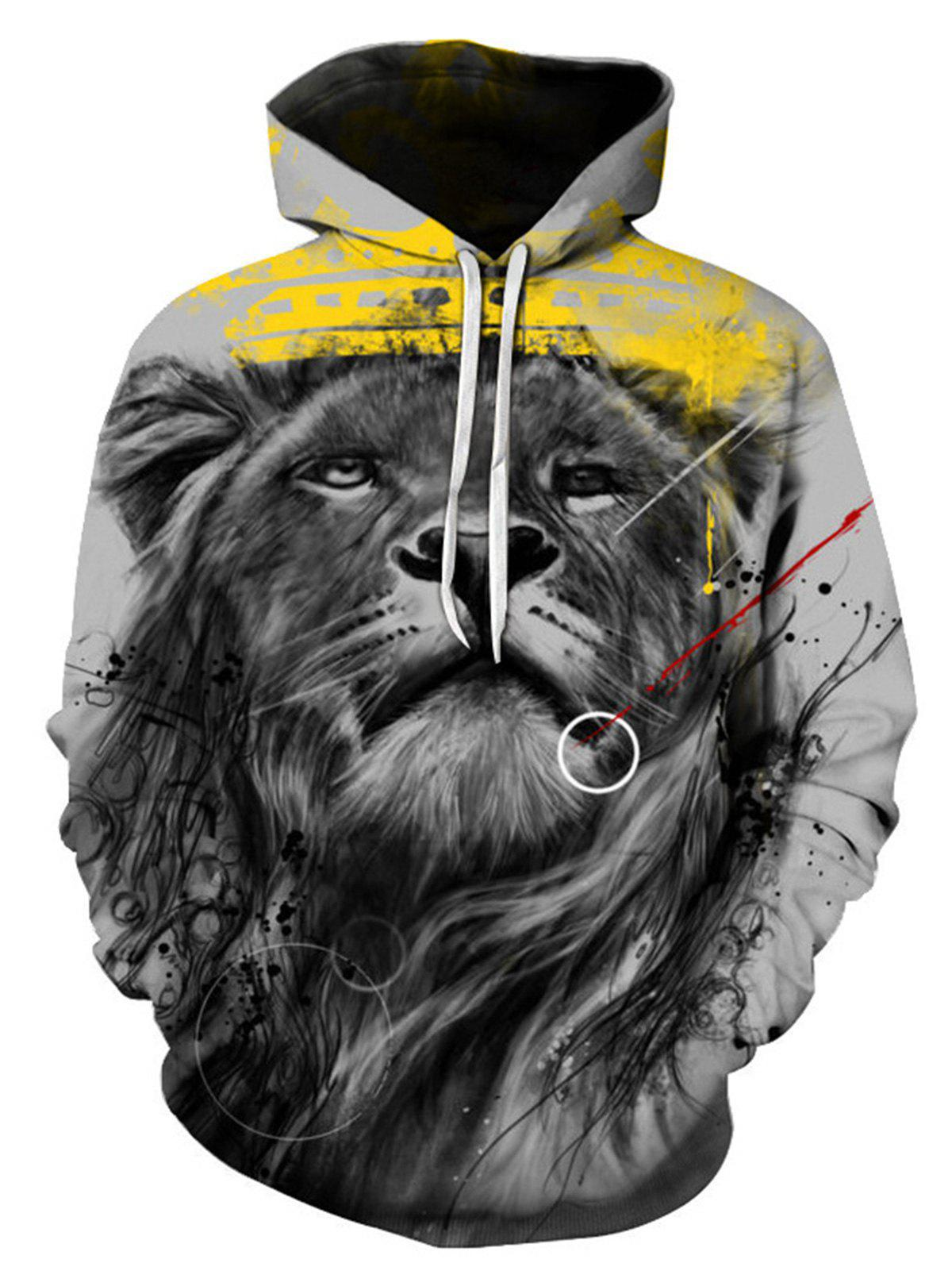 Cheap Digital Splatter Paint Lion Pullover Hoodie