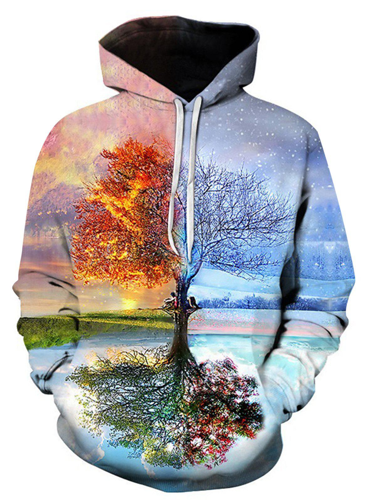 Unique 3D Digital Symmetrical Tree Print Pullover Hoodie