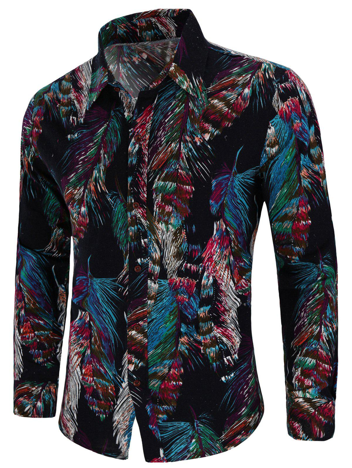 Best Feather Tribal Print Long Sleeve Shirt