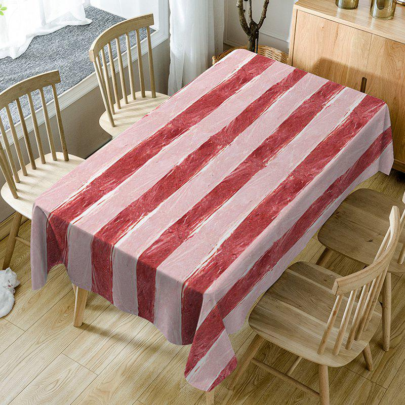 Best Meat Striped Print Waterproof Dining Table Cloth