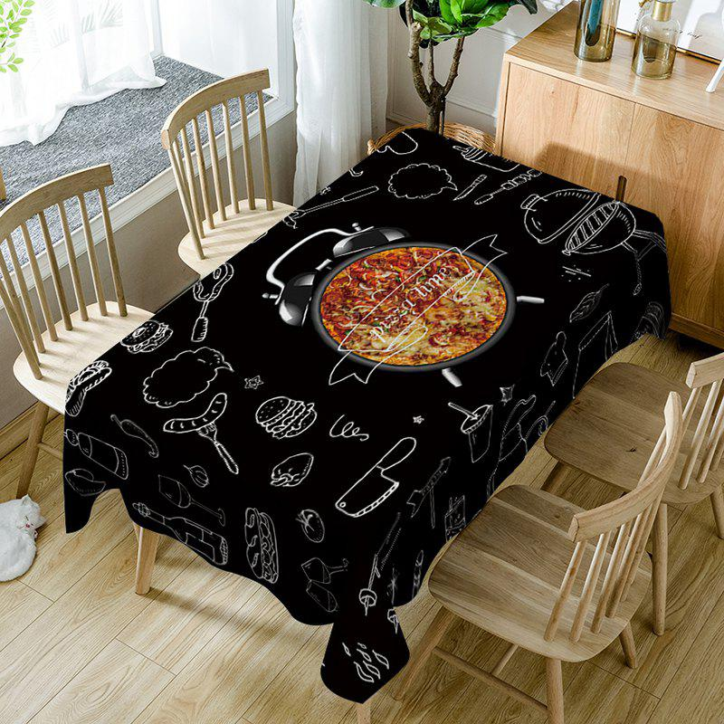 Cheap Pizza Clock Print Waterproof Dining Table Cloth