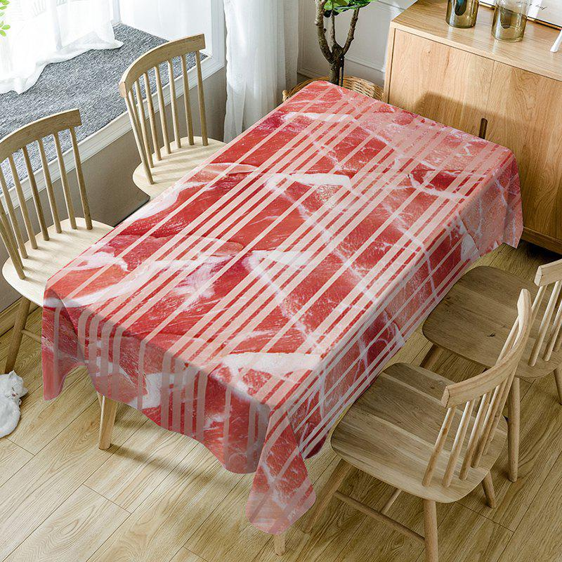 Hot Stripe Meat Print Waterproof Dining Table Cloth