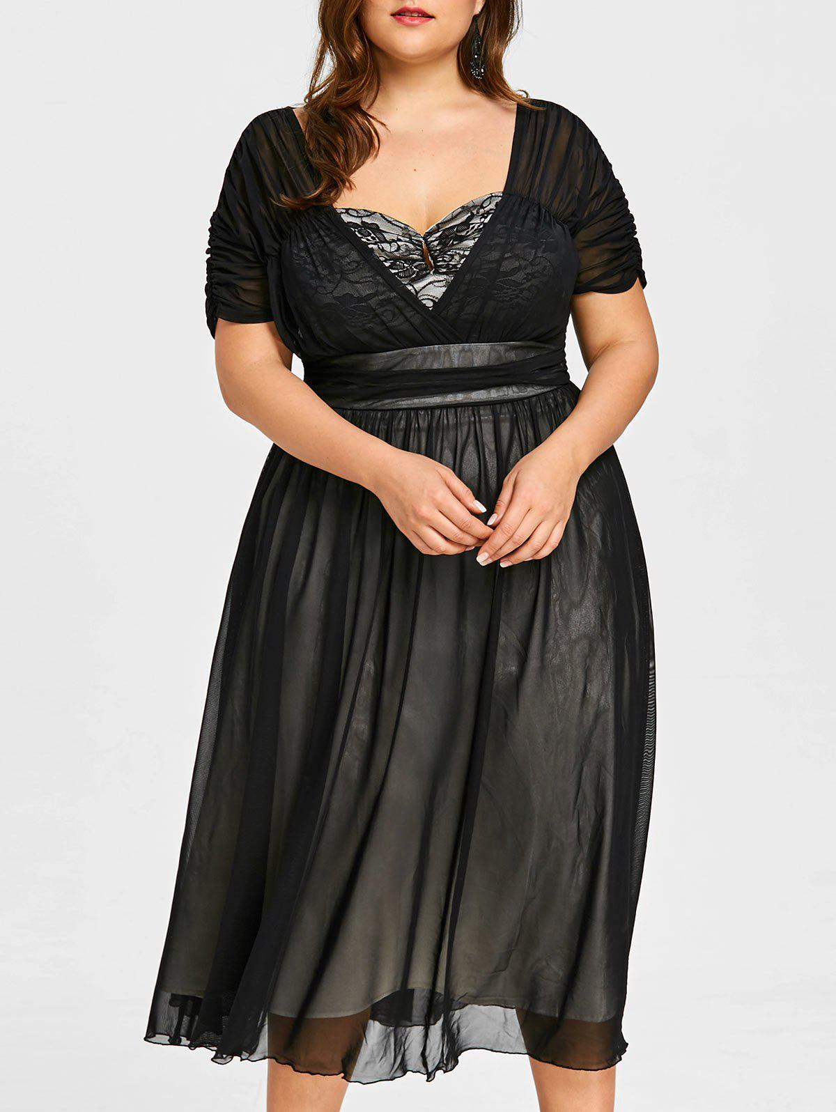 Fancy Plus Size Ruched Sweetheart Neck Tiered Dress