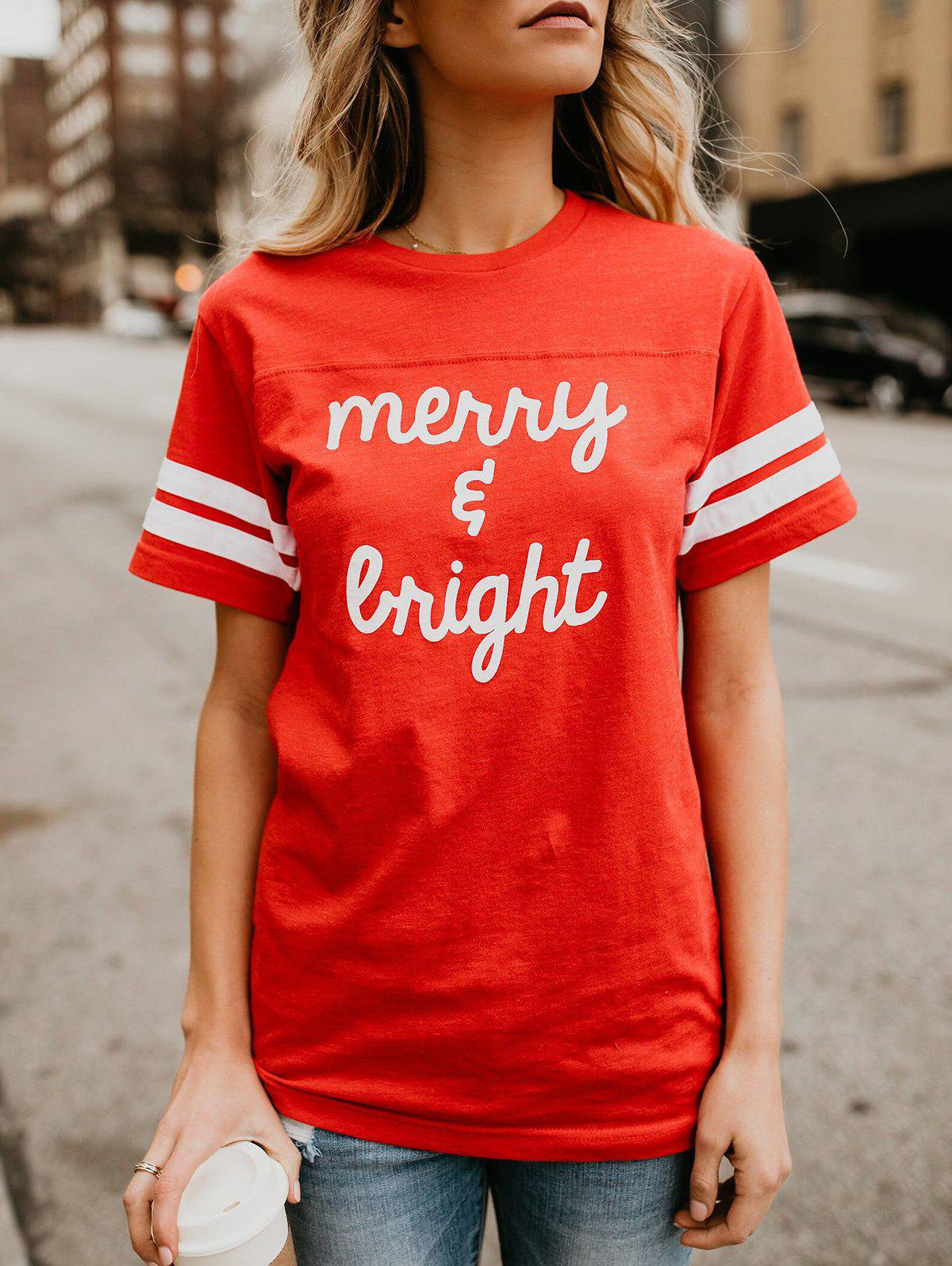 Affordable Letter Print Striped Panel T-shirt