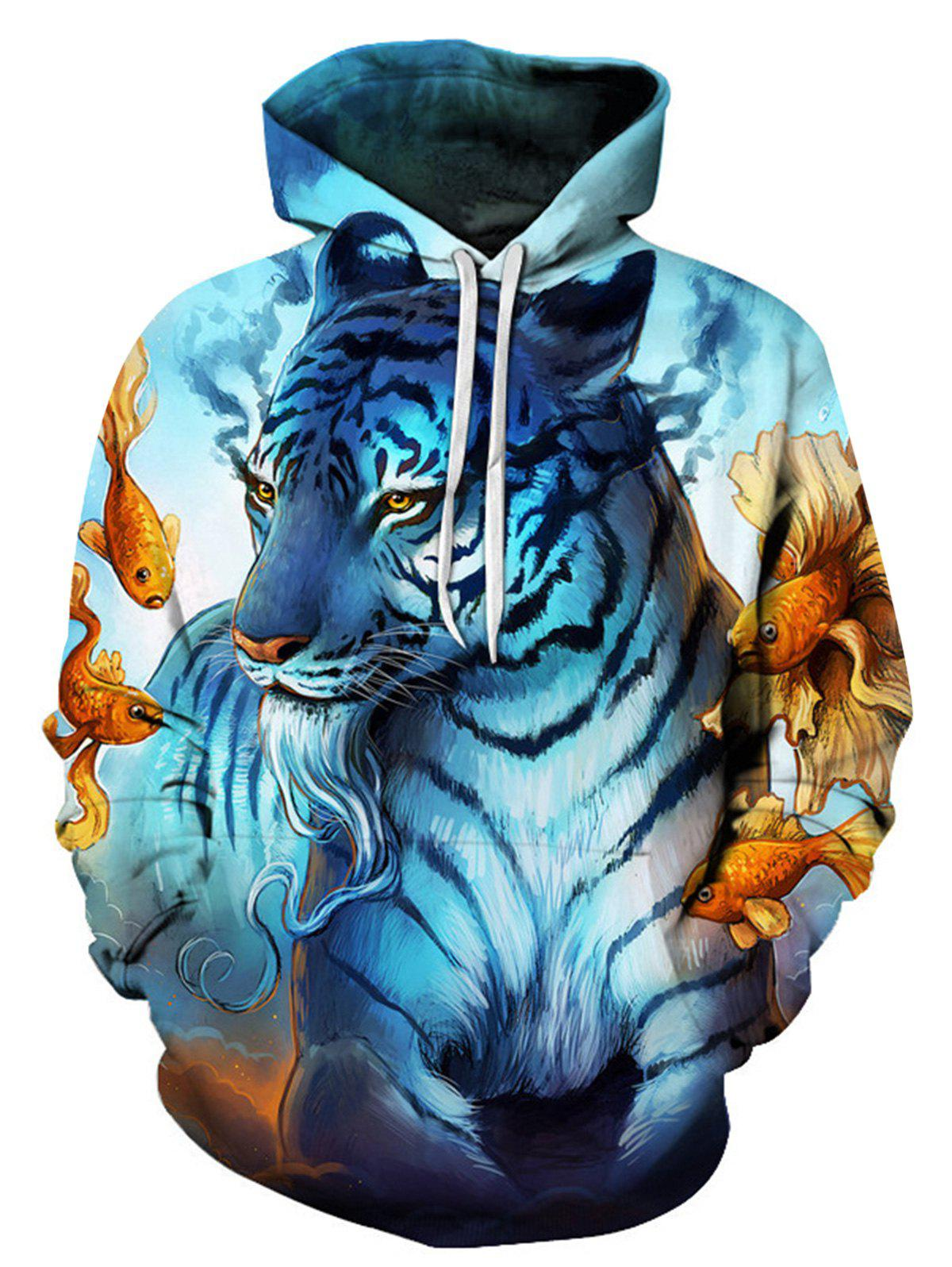 Latest Digital Goldfish Tiger Trippy Pullover Hoodie
